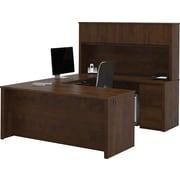 Bestar Prestige + Collection U-Shape Desk With Hutch & Pedestal, Chocolate