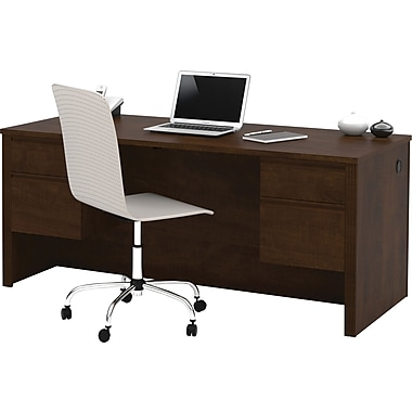 Bestar Prestige + Collection Double Pedestal Desk, Chocolate