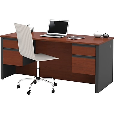 Bestar Prestige + Collection Double Pedestal Desk, Bordeaux & Graphite