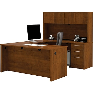 Bestar Embassy Collection U-Shaped Desk & Hutch With One Pedestal, Tuscany Brown