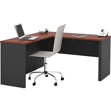 Bestar Prestige + Collection L-Shape Desk, Bordeaux & Graphite