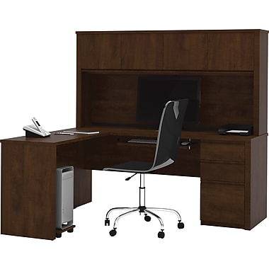 Bestar Prestige+ L-shaped Workstation With Hutch Kit, Chocolate