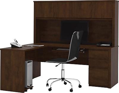 Bestar® Prestige+ L-Shaped Workstation with Hutch, One Pedestal, Chocolate