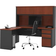 Bestar Prestige+ L-shaped Workstation With Hutch Kit, Bordeaux & Graphite