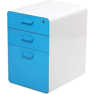 Poppin, Stow File Cabinet, 3-Drawer, White + Pool Blue (100429)