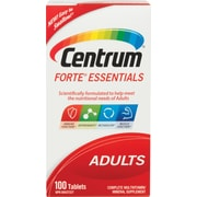 Centrum® Forte® Essentials Multivitamin/Mineral Supplement for Adults, 100 Tablets