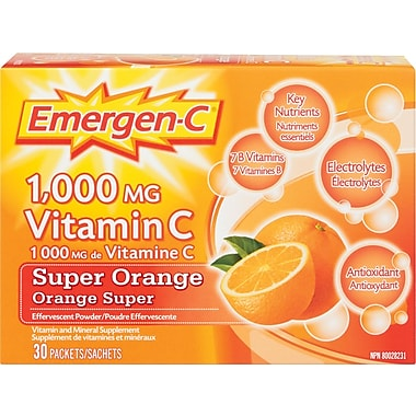 Emergen-C® Vitamin and Mineral Supplement, Super Orange, 30/Pack