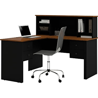 staples office furniture computer desks. bestar corner computer desk blacktuscany brown 4585018 staples office furniture desks