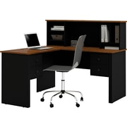 Bestar Corner Computer Desk, Black/Tuscany Brown (45850-18)
