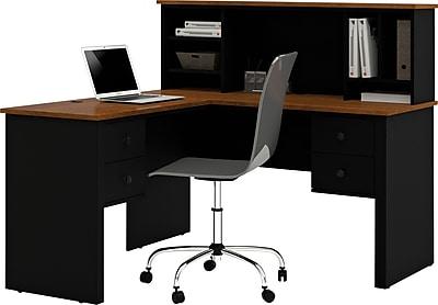 Bestar Corner Computer Desk, Black/Tuscany Brown (45850-18)