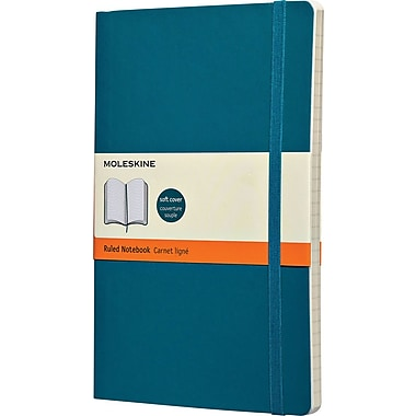 Moleskine® Classic Coloured Notebook, Large, Ruled, Underwater Blue, Soft Cover, 5