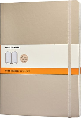 Moleskine Classic Notebook, Extra Large, Ruled, Khaki Beige, Soft Cover, 7-1/2