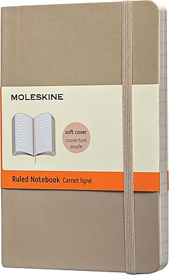 Moleskine Classic Notebook, Pocket, Ruled, Khaki Beige, Soft Cover, 3-1/2