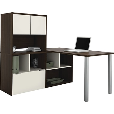 Contempo L-Shaped desk with storage unit in Tuxedo & Sandstone