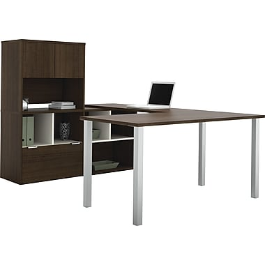 Contempo U-Shaped desk with storage unit in Tuxedo