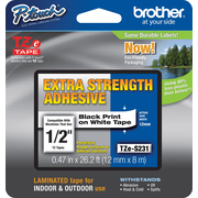 "Brother P-Touch® Tze-S231CS Extra-Strength Adhesive Tape, 1/2""W x 26.2'L, Black on White"