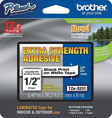 Brother P-Touch® Tze-S231CS Extra-Strength Adhesive Tape, 1/2