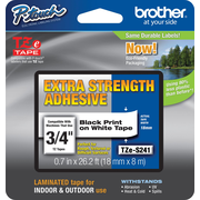 "Brother TZe-S241 Extra-Strength Adhesive Tape, Black on White, 3/4""W x 26.2'L"