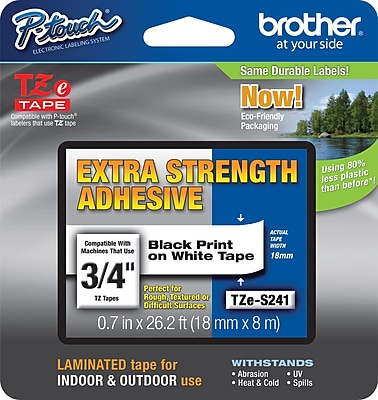 Brother TZe-S241 Extra-Strength Adhesive Tape, Black on White, 3/4