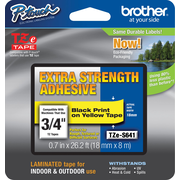 "Brother TZe-S641CS P-Touch 3/4"" Label Tape Black on Yellow with Extra Strength Adhesive"