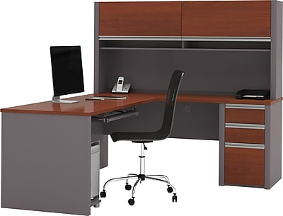 Bestar® Connexion Collection, L-Shaped Desk with Pedestal and Hutch, Bordeaux and Slate
