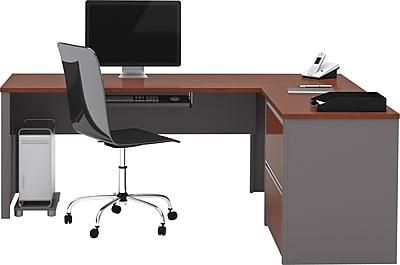 Bestar Connexion L Desk w/ Oversized Pedestal, Bordeaux/Slate