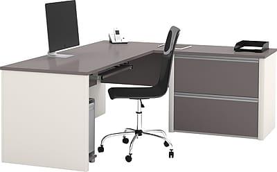 Bestar Connexion L Desk w/ Oversized Pedestal, Slate/Sandstone
