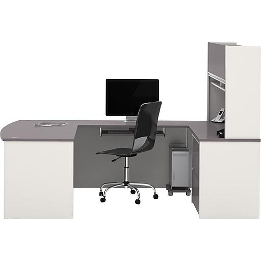 Pleasant Bestar Connexion Collection 71 U Shaped Desk With Oversize Pedestal And Hutch Sandstone Slate 93863 59 Download Free Architecture Designs Scobabritishbridgeorg