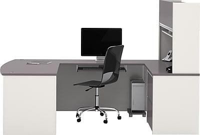 Bestar Connexion U Workstation W/ Hutch, Slate/Sandstone   Staples