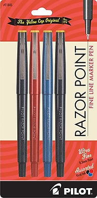 Pilot Razor Point Fine Line Marker Pens, Ultra Fine Point, Assorted, 4/Pack (11045)