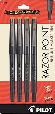 Pilot Razor Point Fine Line Marker Pens, Ultra Fine Point, Black, 4/Pack (11044)