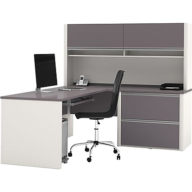 Bestar Connexion L-Workstation w/ Hutch and Oversized Pedestal, Slate/Sandstone