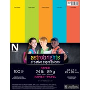 "Astrobright Creative Expressions Paper, 24 lb., 8.5"" x 11"", Assorted, 100 Sheets/Ream"