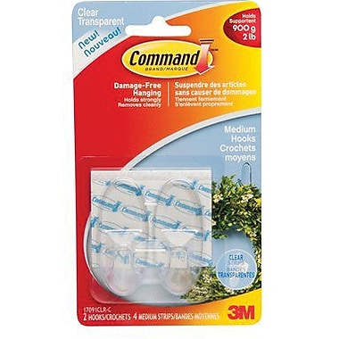 Command™ Clear Medium Hooks with Clear Strips, 2/Pack