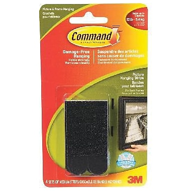 Command™ Picture Hanging Strips, Medium, Black