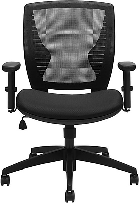 Global Offices to Go Fabric Managers Office Chair, Adjustable Arms, Black (OTG11860B)