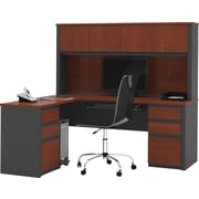 Bestar Prestige+ L-Workstation w/ Hutch and 2 Pedestals, Bordeaux Cherry/Graphite