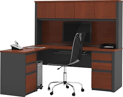 Bestar® Prestige+ L-Shaped Workstation Kit with Hutch, Two Pedestals, Bordeaux & Graphite