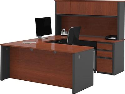Bestar® Prestige+ U-Shape Workstation Kit With 2 Pedestals, Bordeaux & Graphite