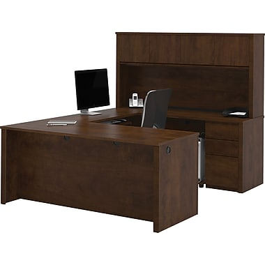 Bestar Prestige+ U-Workstation w/ Hutch and Pedestals, Chocolate