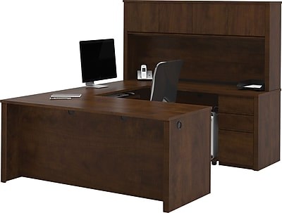 Bestar® Prestige+ U-Shape Workstation Kit With 2 Pedestals, Chocolate