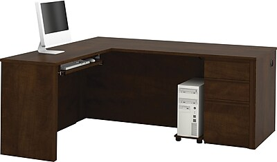 Bestar® Prestige+ L-Shaped Workstation Kit, With One Pedestal, Chocolate