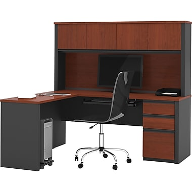 Bestar Prestige+ L-Workstation w/ Hutch and 1 Pedestal, Bordeaux Cherry/Graphite