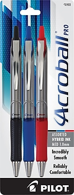 Pilot Acroball Pro Retractable Advanced Ink Pens, Medium Point, Assorted, 3/Pack (31922)