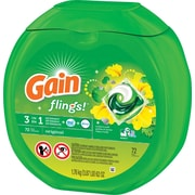 Gain Flings 3-in-1 Laundry Detergent, Original, 72 Flings/Pack (86792)