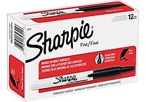 Sharpie® Retractable Fine Point Permanent Markers Black 12/pk (32701)