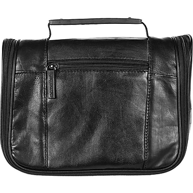 Bugatti Crop Genuine Leather Toiletry Bag, Black