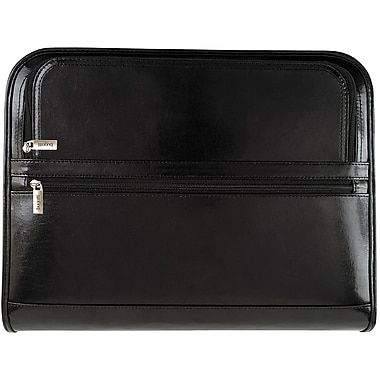 Bugatti Rousseau Genuine Leather Zippered Binder, Black