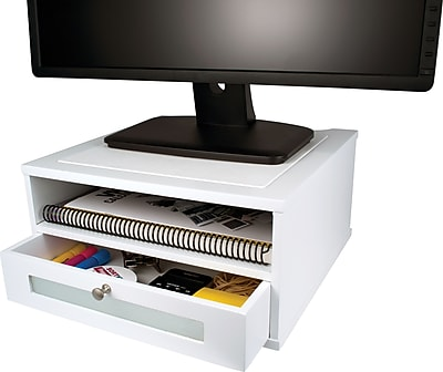 Victor Wood Desk Organizer Monitor Stand Pure White Staples