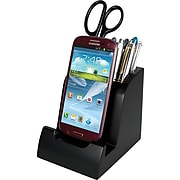 """Victor Technology Smart Charge Micro USB Dock™ with Pencil Cup, Black, 4 8/10""""H x 4 3/10""""W x 3 8/10""""D"""